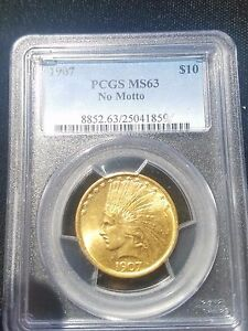 Click now to see the BUY IT NOW Price! 1907 $10 GOLD INDIAN GOLD PIECE PCGS MS63 NO MOTTO PQ