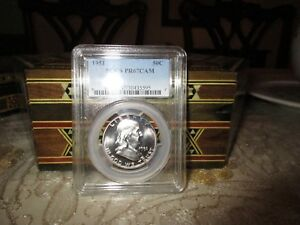 Click now to see the BUY IT NOW Price! 1951 FRANKLIN HALF DOLLAR PCGS PROOF 67 CAMEO TONING