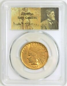 1907 NO MOTTO $10.00 GOLD INDIAN   PCGS MS61   AUGUSTUS TAG