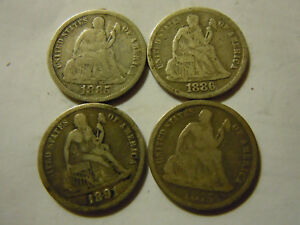 LOT OF 4 SEATED DIMES 1875 1885 1886 1891 AVG FINE