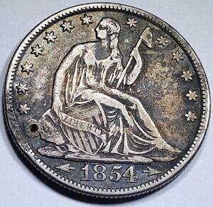 1854 O XF DIE CRACKS HOLED US SEATED LIBERTY SILVER HALF DOLLAR ANTIQUE CURRENCY