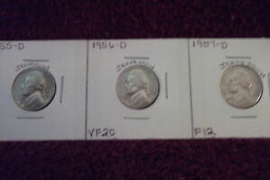 1955 D FINE / 1956 D FINE / 1957 D FINE JEFFERSON NICKELS