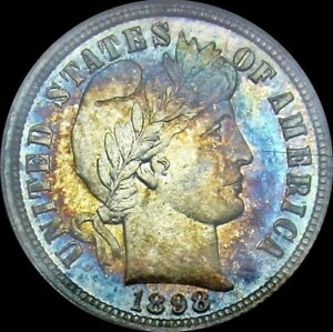 MONSTER RAINBOW TONED 1898 PROOF BARBER DIME NGC PF62 UNDERGRADED