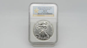 2013  W  1 OZ SILVER EAGLE STRUCK AT  WEST POINT NGC MS70   YELLOW STAR  LABEL H
