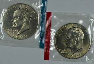 1977 P & D  EISENHOWER UNCIRCULATED DOLLAR IN MINT CELLO SEE STORE FOR DISCOUNTS