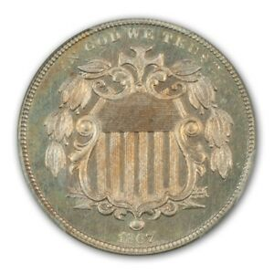 Click now to see the BUY IT NOW Price! 1867 5C RAYS SHIELD NICKEL W/RAYS PCGS PR65
