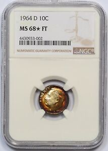 Click now to see the BUY IT NOW Price! 1964 D NGC MS 68 FT ROOSEVELT DIME  POP 1 STAR  FINEST  MONSTER RAINBOW COLORS