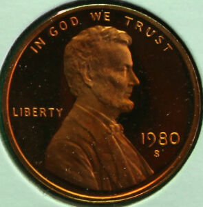 1980 S LINCOLN PENNY ONE CENT PROOF U.S. MINT COPPER COIN 1C FROM PROOF SET