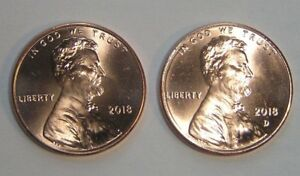 LOOK     2018  &  2018 D  LINCOLN .CENT SHIELD PENNY   MINT LUSTER