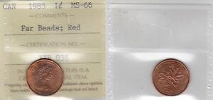 Click now to see the BUY IT NOW Price! 1983 ICCS MS66 1 CENT FAR BEADS FB RED CANADA ONE PENNY