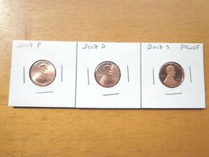 2018 P D S LINCOLN CENT PENNY PROOF 3 COIN SET LOT  PDS