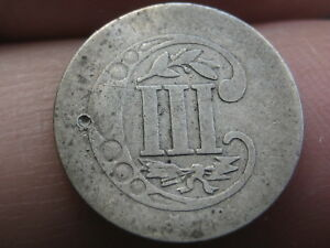 1857 THREE 3 CENT SILVER TRIME  OLD TYPE COIN