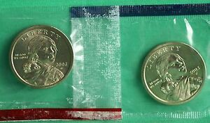 2003 P AND D SACAGAWEA DOLLAR BU 2 COINS CELLOS US MINT SET NATIVE AMERICAN UNC