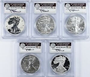 2011 SILVER EAGLE 25TH ANNIV SET MS/PR 70 PCGS  FS  JOHN MERCANTI