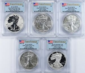 2011 SILVER EAGLE 25TH ANNIV SET MS/PR 70 PCGS  FS