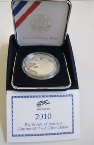 2010 BOY SCOUTS OF AMERICA PROOF SILVER DOLLAR PERFECT MINT BOX
