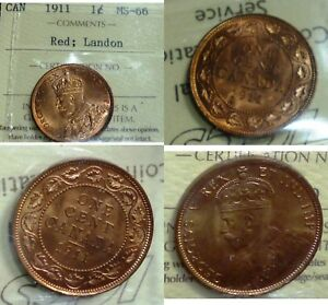 Click now to see the BUY IT NOW Price! 1911 CANADA CENT  ICCS HIGH GRADE 66 RED  IN THIS GRADE