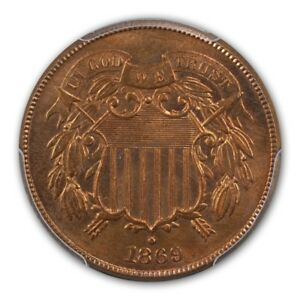 Click now to see the BUY IT NOW Price! 1869 2C TWO CENT PIECE PCGS MS66 RD