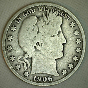 1906 BARBER HALF DOLLAR SILVER TYPE COIN FIFTY CENT 50 CENTS GOOD PHILADELPHIAR