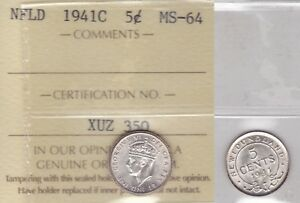 Click now to see the BUY IT NOW Price! 1941C ICCS MS64 5 CENTS NEWFOUNDLAND NFLD NF FIVE HALF DIME FISHSCALE SILVER