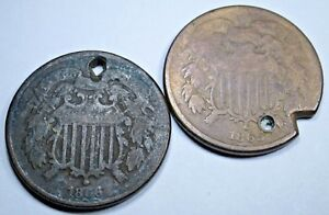 1865 & 1866 U.S. TWO CENT PIECE HIGH GRADE PENNY US ANTIQUE CURRENCY COIN USA