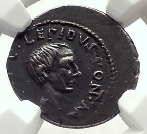 Click now to see the BUY IT NOW Price! LEPIDUS   JULIUS CAESAR ALLY TRIUMVIR AUGUSTUS 43BC SILVER ROMAN COIN NGC I71703