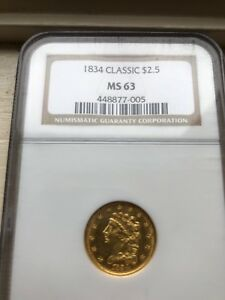 Click now to see the BUY IT NOW Price! 1834 CLASSIC HEAD QUARTER EAGLE NO MOTTO $2.5   FIRST YEAR OF ISSUE NGC MS 63