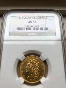 Click now to see the BUY IT NOW Price! 1834 CROSS 4 CROSSLET 4 CLASSIC HEAD $5 HALF EAGLE NGC AU58