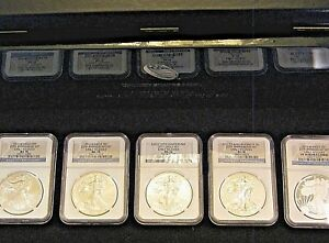 2011 SILVER EAGLE 5 COINS 25TH ANNIVERSARY SET PERFECT 70'S ULTRA CAMEO