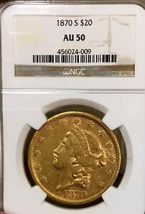 1870 S TYPE II $20 LIBERTY HEAD GOLD NGC AU50