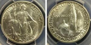 1936 QUARDRUPLE DIE D/D RPM FS 101 SAN DIEGO SILVER COMMEMORATIVE PCGS MS65