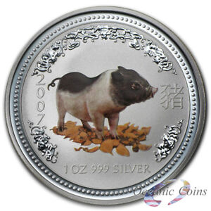 Click now to see the BUY IT NOW Price! NEW 2007 PERTH MINT 1 OZ SILVER YEAR OF THE PIG COLORIZED
