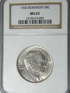 ROBINSON ARKANSAS 50C NGC MS 63 CHOICE FOR GRADE