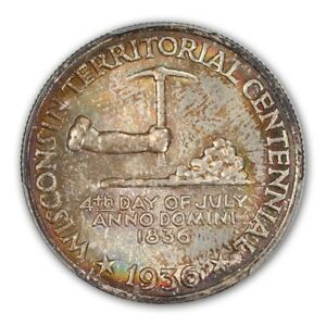 Click now to see the BUY IT NOW Price! WISCONSIN 1936 50C SILVER COMMEMORATIVE PCGS MS68  CAC
