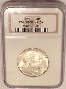 1936 ROBINSON ARKANSAS COMMEMORATIVE HALF DOLLAR NGC MS64 : WHITE
