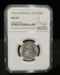 Click now to see the BUY IT NOW Price! 1853 ARROWS & RAYS SEATED LIBERTY QUARTER   NGC MS 64   BEAUTIFUL COIN    002