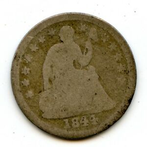 DATE 1844 O SILVER SEATED LIBERTY HALF DIME | ROTATED REVERSE ERROR