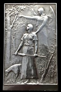 FRANCE. SILVER PLAQUE OF JOAN OF ARC BY DANIEL DUPUIS 1899.