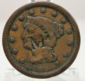 1854 LARGE CENT BRAIDED HAIR LIBERTY WITH A STAMPED M 66497