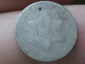 1851 1853 THREE 3 CENT SILVER  HEAVILY WORN LOWBALL