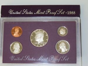 1988 S  5  COIN GEM PROOF SET IN ORIGINAL US MINT DISPLAY CASE & BOX       PS011