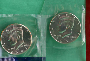2001 P AND D KENNEDY HALF DOLLAR COIN FROM US MINT SET 2 BU CELLO FIFTY CENT UNC