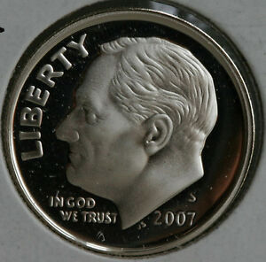 2007 S SILVER PROOF ROOSEVELT DIME TEN CENT COIN 10C FROM US MINT PROOF SET