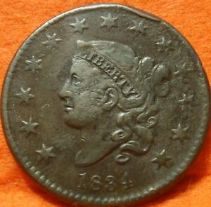 1834 N 2 DOUBLE PROFILE SMALL 8 LG STARS MED LETTERS HEAD LARGE CENT COIN