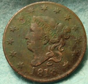 1818 VF/XF DETAILS NICE GRADE MATRON OR CORONET HEAD LARGE CENT COIN 1C