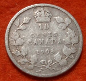 CANADA 1903 10 CENTS SILVER KM10 KEY ONLY 500K MINTED