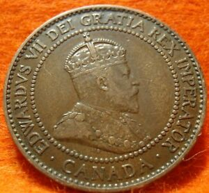 1910 XF AU CANADA LARGE CENT EDWARD VII COIN NORES CANADIAN HIGH GRADE   <