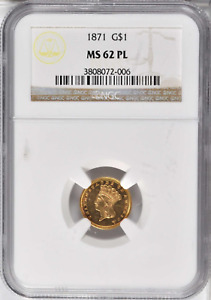 Click now to see the BUY IT NOW Price! 1871 MS 62 PL G$1 TYPE 3 INDIAN PRINCESS NGC CERTTIFIED POP 2