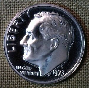 1973 S PROOF ROOSEVELT DIME 10 CENTS UNITED STATES COIN