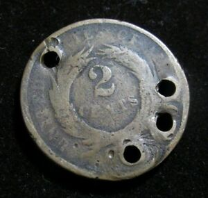 1865 TWO  2  CENT PIECE WITH HOLES FOR NECKLASE OR BRACELET